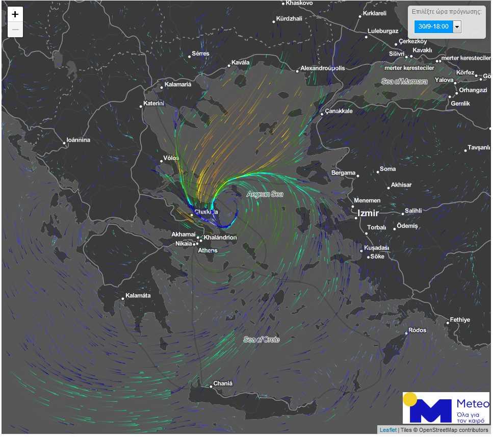 """Η προβλεπόμενη θέση του Μεσογειακού Κυκλώνα """"Ξενοφών"""" την Κυριακή 30 Σεπτεμβρίου 2018 στις 18:00."""