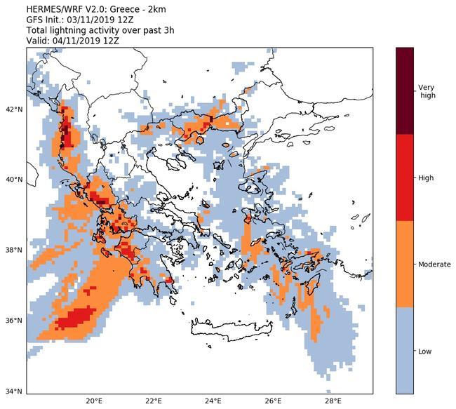 Επεσαν 6.650 κεραυνοί έως τις 14:00- Το ψυχρό μέτωπο προχωρά σε όλη την Ελλάδα